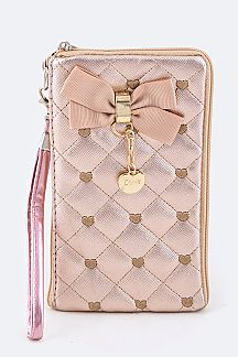 Quilted Sweet Heart Phone & Wallet Pouch