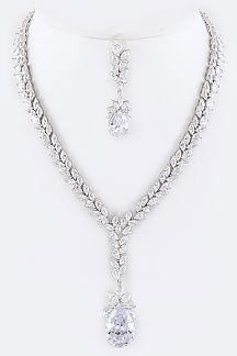 Cubic Zirconia Fashion Teardrop Necklace Set