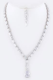 Cubic Zirconia Marquise Teardrop Necklace Set