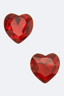 Jumbo Heart Crystal Clip On Earrings