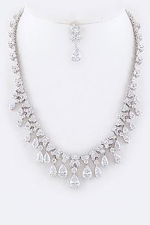 Cubic Zirconia Mix Teardrop Statement Necklace Set
