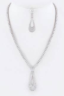 Paved Cubic Zirconia Long Teardrop Necklace Set