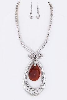 Genuine Stone Iconic Large Teardrop Necklace Set