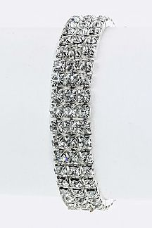 3 Lines Crystal Stretch Bracelet