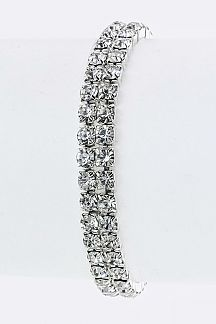 2 Lines Crystal Stretch Bracelet