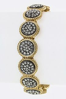 Pave Crystal Disks Stretch Bracelet