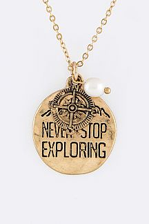 Never Stop Exploring Pendant Necklace Set