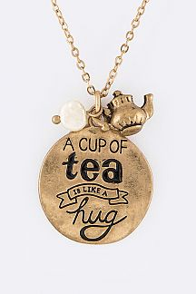 Ac Cup Of Tea Message Pendant Necklace Set
