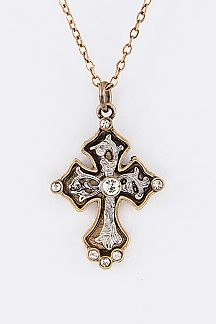 Crystal Ornate Cross Pendant Necklace Set