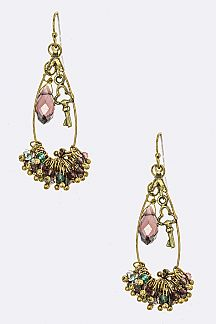 Key Charm Mix Beads Fringe Drop Earrings