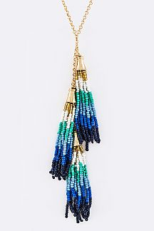 Triple Bead Tassels Necklace Set