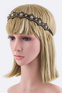 Crystal & Mix Beads Stretch Headband