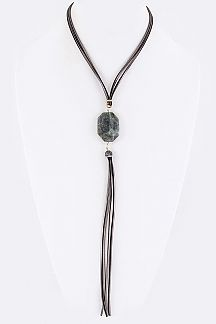 Stone & Crystal Tassel Necklace