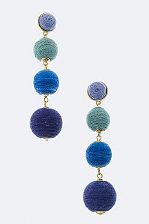 Mix Tone String Ball Earrings