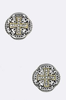 2 Tone Cross Designed Clip On Earrings