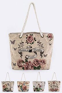 Assorted Paris Print Canvas Tote Bag
