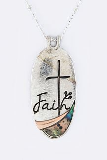 Faith Paved Shell Pendant Necklace Set