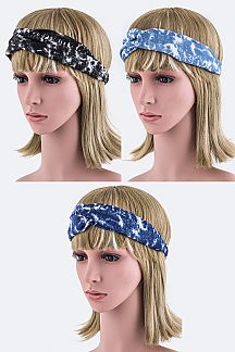Bleached Denim Twist Knot Stretch Headband