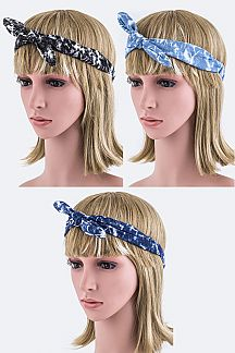 Bleached Denim Knot Tie Stretch Headband
