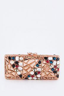 Austrian Crystal Mix Jewels Statement Box Clutch