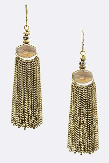 Bead & Fringe Chain Earrings
