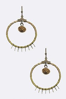 Disk & Beaded Hoop Earrings