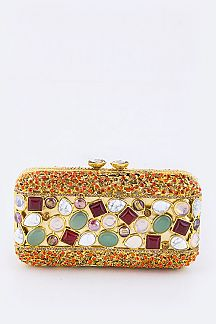 Bejeweled Austrian Crystal Statement Box Clutch
