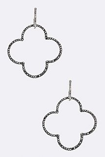 Crystal Clover Hoop Earrings