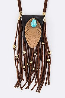 Turquoise & Suede Tassel Iconic Pouch Necklace