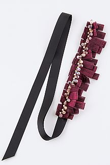 Crystal & Metallic Satin Tie Belt