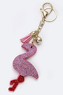 Soft Crystal Flamingo Key Charm