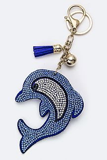 Soft Crystal Dolphin Key Charm