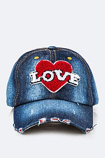 Plush LOVE Fashion Denim Cap