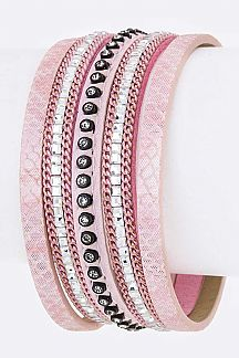 Crystal & Embossed Slit Leather Cuff