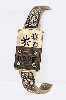 Hope Wood Carved Tag Cuff
