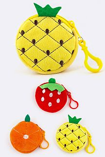Plushy Fruit Coin Purses Set