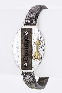 Courage Arrow Tag Leather Cuff