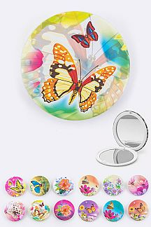Assorted Butterfly Print Compact Mirrors