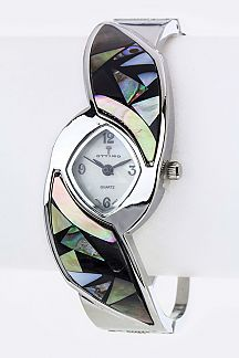 Pave Shells Bangle Watch