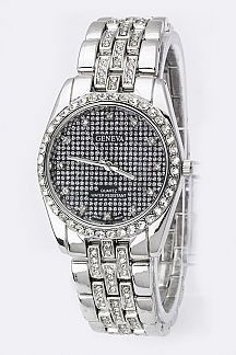 Pave Crystals Bracelet Watch