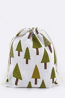 Tree Pattern Canvas Drawstring Pouch - L