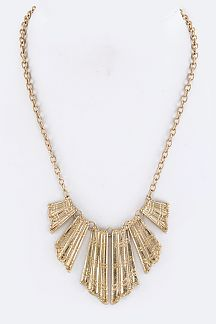 Metal Fans Statement Necklace