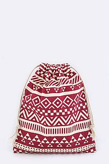 Tribal Print Drawstring Canvas Pouch - M