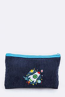 Rocket Embroidery Corduroy Pouch