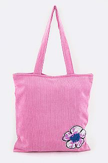 Sequins Flower Corduroy Tote