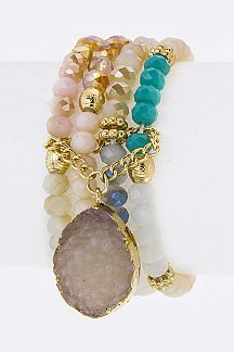 Teardrop Druzy Charm & Mix Beads Layer Stretch Bracelet