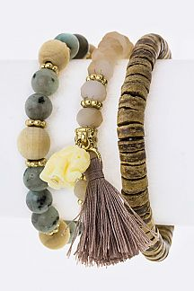 Elephant Charmed Stretch Bead Bracelets Set