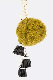 2 In 1 Jumbo Pom Pom & Triple Tassels Bag Charm