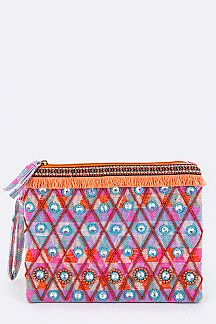 Beads & Crystal Geo Pattern Wristlet Pouch