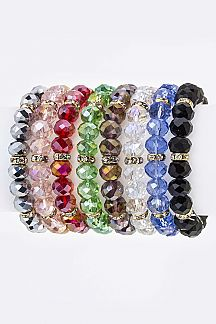 Crystal Hoop & Bead Stretch Bracelets Set